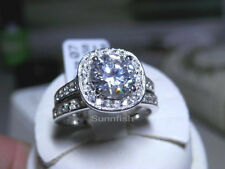925 STERLING SILVER 2 RING HALO SIMULATED DIAMOND ENGAGEMENT WEDDING SET Size 6