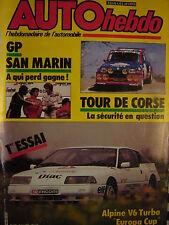 auto hebdo 1985 ALPINE V6 TURBO CUP / TOUR DE CORSE / GRAND PRIX F1 SAN MARIN