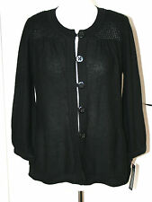 Betty Jackson Black UK14 EU42 new black luxury linen blend waffle yoke cardigan