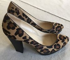 "CALVIN KLEIN Womens 10 Platform Pump Heels ""Emmy"" Leopard Animal Print Calf Hair"