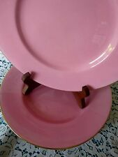 """MINTONS England for BIRKS Montreal Canada Set 4 - 9.25"""" PINK PLATES w/ GOLD TRIM"""