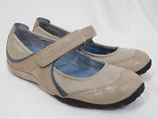 Privo Clarks Mary Jane Womens Shoes Tan Cream Blue Leather Sz 5.5 M