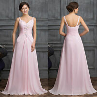 Pink Long Formal Evening Ball Gown Party Prom Bridesmaid Dress Stock Size 6-20