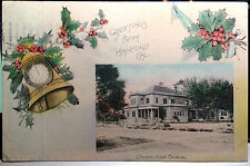 HANFORD, CALIFORNIA, Composite, CHRISTMAS, Hand Colored Post Card 1910 SCHOOL
