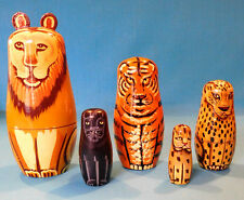 Wooden Russian Nesting Dolls Cat -  Figurines 10 PIECE SET HAND PAINTED Lion
