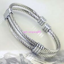 New Fashion Silver Stainless Steel Women Men's Cable Wire Cuff Bracelet Bangle