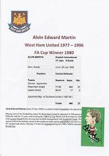 ALVIN MARTIN WEST HAM UTD 1977-1996 ORIGINAL HAND SIGNED STUBBS CARD