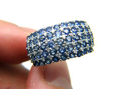 BH EFFY 3ctw Blue Sapphire & Diamond 14k Solid White Gold Cluster Statement Ring