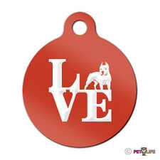 Love Pit Bull Engraved Keychain Round Tag w/tab park APBT Many Colors