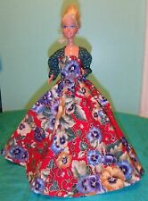 Red & Green Gown with Large Pansies for Barbie Doll MS123