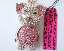Cute NWT Betsey Johnson Necklace Blue  Gold Sparkles Baby Pig