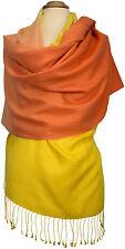 Pashmina Schal,  70% Cashmere,  30% Seide silk Gelb Orange Yellow  scarf stole