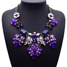 Quality, Purple, Lucite Crystal Gems, Flower, Statement NECKLACE