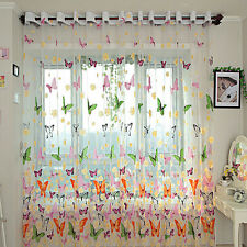 New Butterfly Printed Tulle Window Screening Sheer Voile Curtain Translucidus