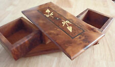 RARE THUYA WOOD  UNUSUAL SWIVEL TOP INLAID JEWELLERY BOX