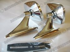 VINTAGE STYLE CHROME OBLONG MIRRORS CLASSIC MUSCLECAR RESTOMOD HOTROD KIT