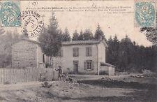 SAINT-PRIEST-LA-BRUGNE maison de refuge de PIERRE BELLE à ROANNE timbrée 1906