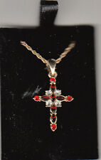 Cross Necklace, Red Rhinestones, By Devotions, New in Gray Jewelry Gift Box