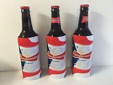 Budweiser Beer Koozie Fits 16 oz Glass Bottles ~ Set of 3 ~ NEW & FS America USA