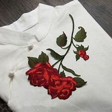 14CM*21CM Red Rose Blossom Fabric Sticker Embroidery Patch Sew-on Applique