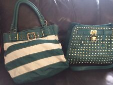 Lot Of 2 Purses BRACIANO Studded Purse & Fashion Purse Green & Green /white