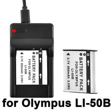 Battery+ charger for Olympus li 50b VG-170 VR-340 TG-610 TG-810 TG-820 iHS NEW