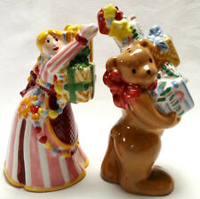 Nikko Christmas Salt and Pepper Shakers Girl Helping Bear Toppling Tower Gifts