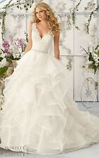 NEW White/Ivory Sleeveless A-Line Wedding Dresses Ruffled Organza Bridal Gown