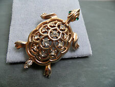 Vintage Crown Trifari Rhinestone Turtle Brooch / Pin