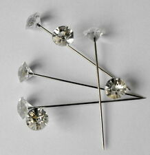 "200 Clear Gem Diamond Cut 1.5"" Pins Diamante Bling for Bouquets Wedding Flowers"