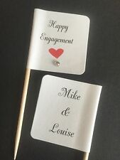 24x PERSONALISED ENGAGEMENT CUPCAKE TOPPERS/PICKS/FLAGS WITH GEM - PARTY