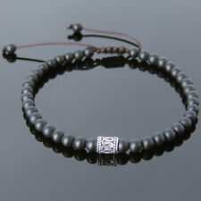 Men's Bracelet Braided Gemstone 4mm Matte Black Onyx S925 Sterling Silver 695M