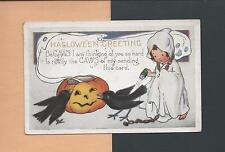 GIRL GHOST, JOLs, CROWS, BLACK CAT On Cute Vintage 1923 HALLOWEEN Postcard