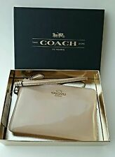 Coach Wristlet Wallet Platinum Gold New Small LZip Leather Mother's Day Gift Box