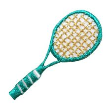 ID 1561 Teal Tennis Racket Racquet Sports Embroidered Iron On Applique Patch