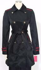 Vince Camuto Double Breasted Contrast Trim Dark Navy Trench Coat Size XL Womens*