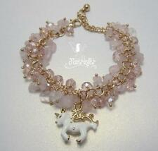 The Rose Quartz Unicorn bracelet pretty hand crafted gift crystals and gemstones