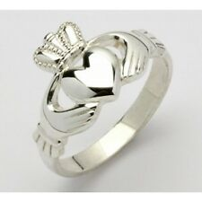 Ladies Argento Sterling Claddagh Ring, fatto a mano in Irlanda-RRP £ 25