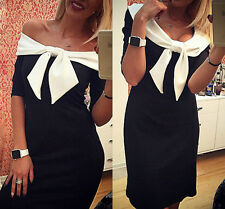 Sexy Women Short Sleeve Bodycon Silm Party Cocktail Pencil Mini Dress Black S #1