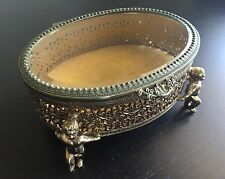 VTG Ormolu Jewelry Casket Box Cupid Angel Legs Gilt Gold Beveled Glass Oval WOW