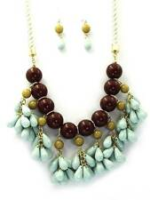 Blue Brown Lucite Bead & Faceted Drops Twisted Cord Necklace Earring