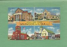 """4 Pics From """"Greetings From WILDWOOD BY THE SEA, NJ"""" On Vintage 1938 Postcard"""