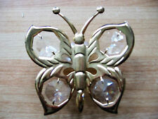 Vintage 1980 Butterfly Mirror Decoration 22 Carat Gold Plated, Crystals & Sucker