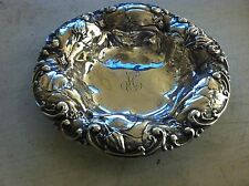 Antique Sterling Silver Art Nouveau High Relief  Repousse Poppies Bowl Whiting ?