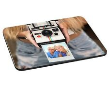 Personalised Photo Added Girl With Polaroid 5mm Thick Rectangle Mouse Mat/Pad