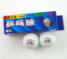 2 boxes (6 Pcs) Double Fish White 40mm 3-Star Table Tennis Balls ITTF Approved
