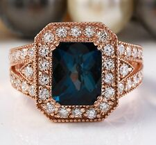 5.00 CTW Natural London Blue Topaz and Diamonds in 14K Rose Gold Ring
