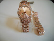 ROSE GOLD FINISH GENEVA MEN'S STONE WATCH AND BRACELET SET