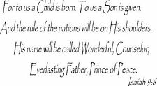 Isaiah 9:6 Vinyl Wall Art, for to Us a Child Will Be Born. To Us a Son Will B...