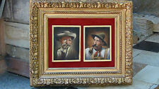 SET OF 2 ANTIQUE 19c GERMAN OIL PAINTINGS ON BOARD OF SMOKING PIPE MEN ,SIGNED